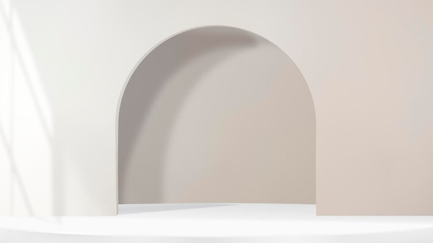 3d arch product backdrop psd with window shadow in brown tone