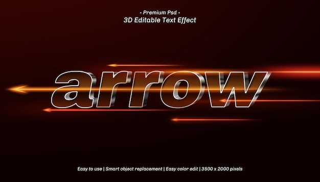 3d arrow editable text effect