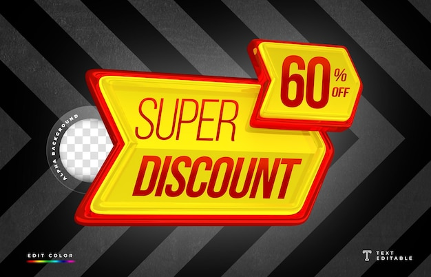 3d arrow shaped rendering with super discount and price tag design