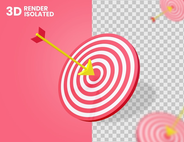 3d arrow on target icon isolated