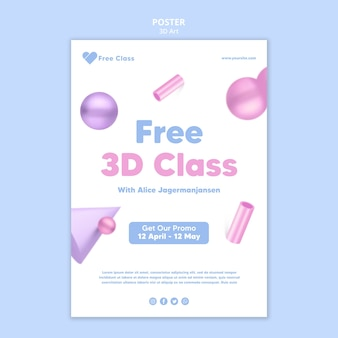 Modello di poster di classe d'arte 3d