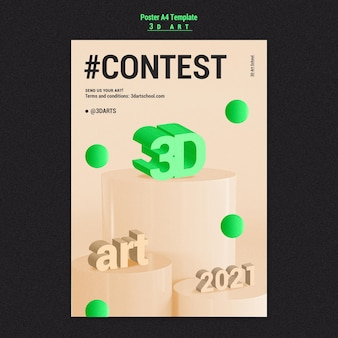 3d art contest poster template