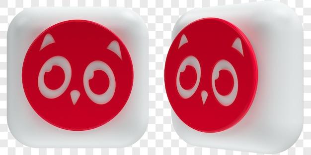 Иконки 3d askfm в двух углах спереди и три четверти изолированных иллюстраций