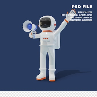 メガホンを保持している3d宇宙飛行士のキャラクター