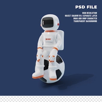 3d astronaut character with the ball