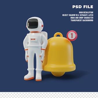 通知ベル付きの3d宇宙飛行士キャラクター