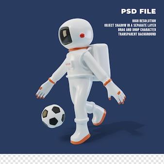 3d персонаж космонавта с мячом