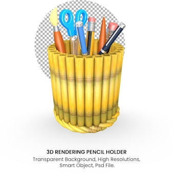 3d back to school concept bamboo pencil holder on transparent background