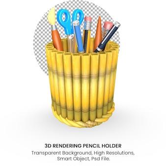투명 한 배경에 학교 개념으로 3d 다시 대나무 연필 홀더
