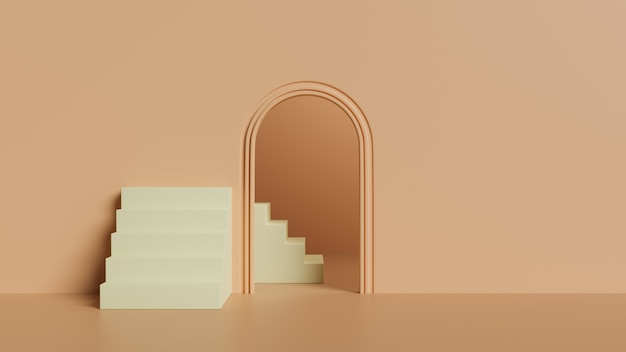 3d background staircase and door