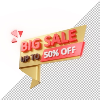3d badge big sale up to 50% off isolated Premium Psd