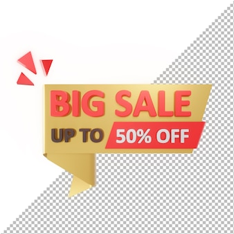 3d badge big sale up to 50% off isolated