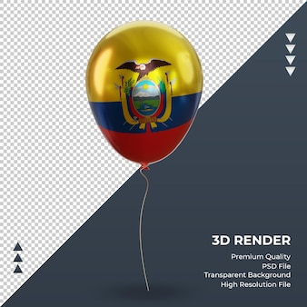3d 풍선 에콰도르 플래그 현실적인 호일 렌더링 전면 보기