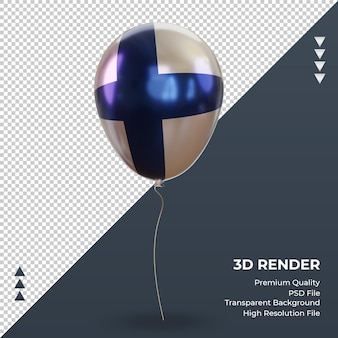 3d 풍선 핀란드 플래그 현실적인 호일 렌더링 전면 보기