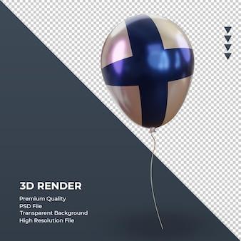 3d 풍선 핀란드 플래그 현실적인 호일 렌더링 왼쪽 보기