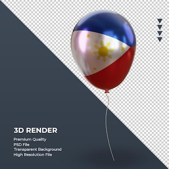3d 풍선 필리핀 국기 현실적인 호일 렌더링 왼쪽 보기