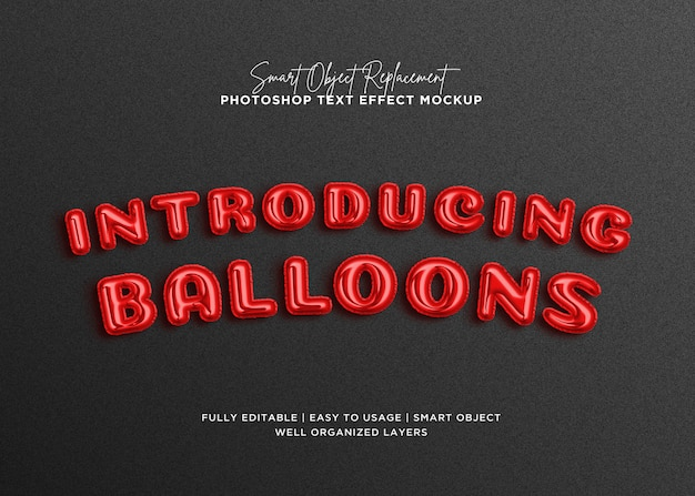 3d balloon style text effect template
