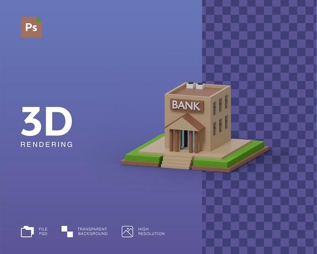 3d 은행 건물 그림 렌더링