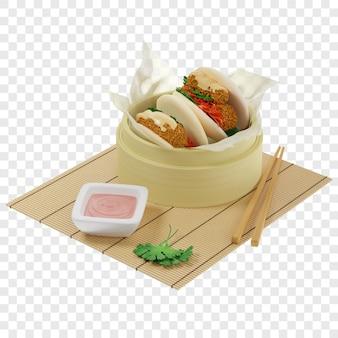 3d булочки бао, приготовленные на пару с креветками темпура, подаются в бамбуковой пароварке на пергаментной бумаге с соусом