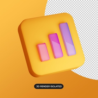 3d bar chart icon isolated