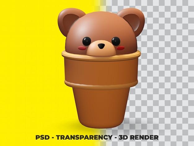 Мороженое 3d медведь с фоном прозрачности