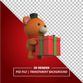 透明な背景にレンダリングされたギフトボックスと3dクマ