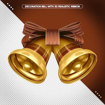 3d колокольчик с коричневой реалистичной лентой для макияжа