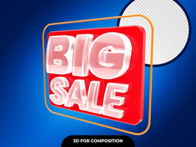 3d big sale badge rendering