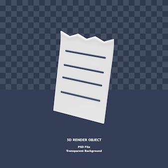 Визуализированный объект иллюстрации значка платежа квитанции счета-фактуры 3d