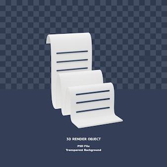 Визуализированный объект иллюстрации значка платежа квитанции счета-фактуры 3d Premium Psd