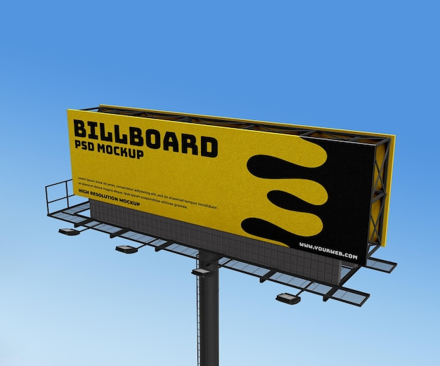 3d billboard advertising banner poster sideway mockup