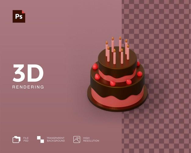 3dバースデーケーキイラストレンダリング