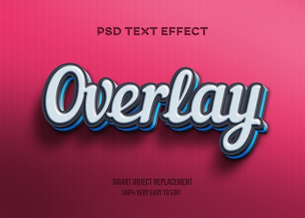 3d черно-синий текстовый эффект наложения