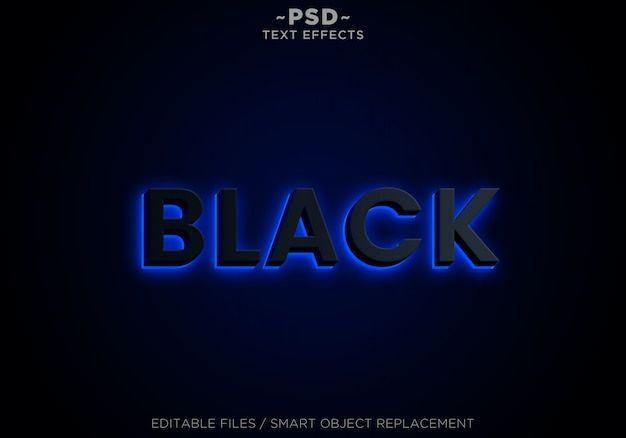 3d black blue neon effects editable text