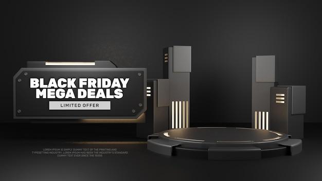 3d 블랙 다크 스틸 lookpodium 제품 디스플레이