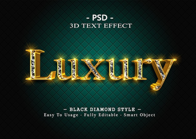 3d black diamond text style effect