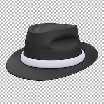 3d黒のフェドーラ帽のイラスト