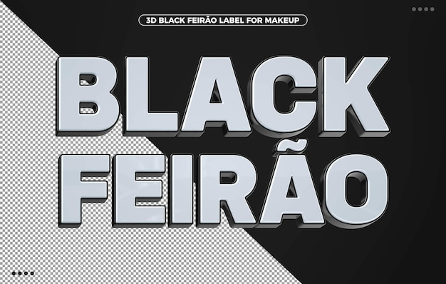 3d black feirao label for compositions in brazil