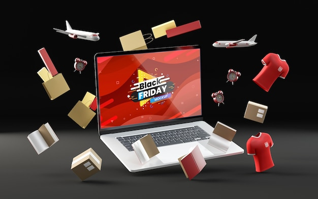 3d black friday items on black background