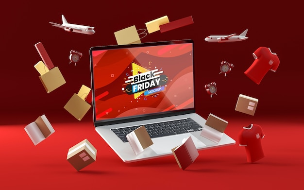 3d black friday items on red background