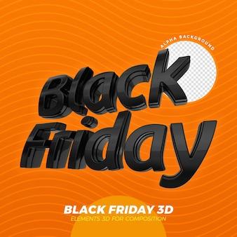 3d 검은 금요일 로고 렌더링 디자인 절연