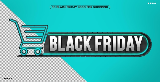 3d black friday logo for shopping with blue illuminated neon