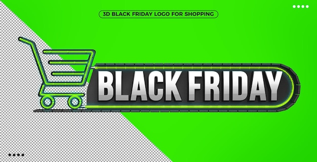 3d black friday logo for shopping with green illuminated neon