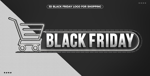 3d black friday logo for shopping with white illuminated neon
