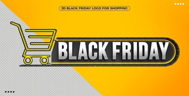 3d black friday logo for shopping with yellow illuminated neon