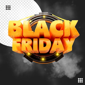 3d black friday logo with lights base