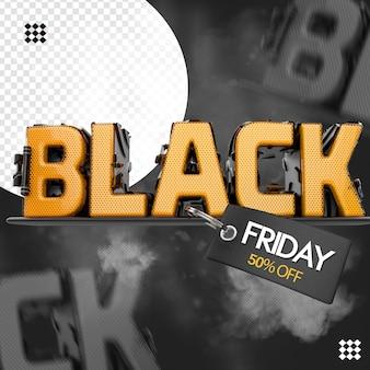 텍스트 기본 태그가있는 3d 검은 금요일 로고