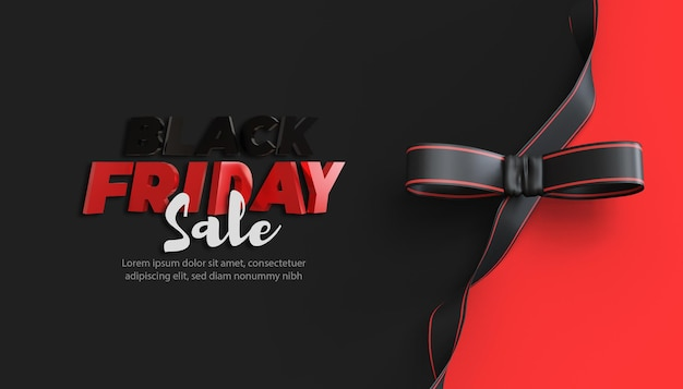 3d black friday sale with ribbon on black background