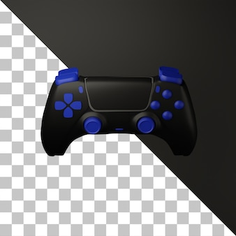 3d black game controller with blue button illustration