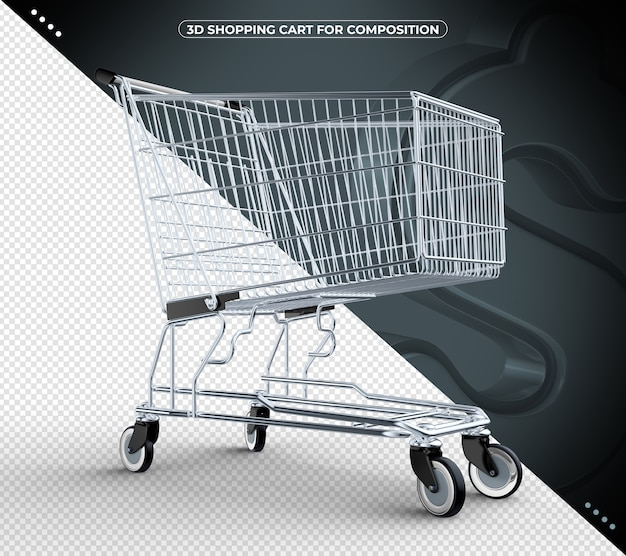 3d black isolated shopping cart isolated